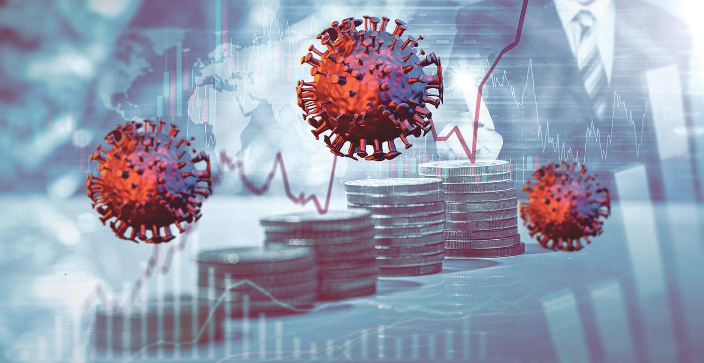 Coronaviren-Abbildungen vor einem aufgezeichneten Aktienkurs. Thema: Aktientrends
