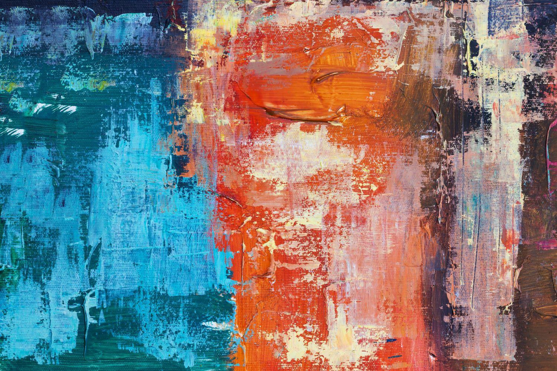 Ein abstraktes Gemälde. Thema: In Sachwerte investieren