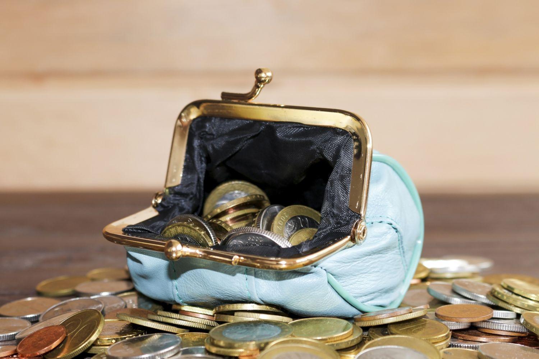 Geöffnete Geldbörse mit Münzgeld