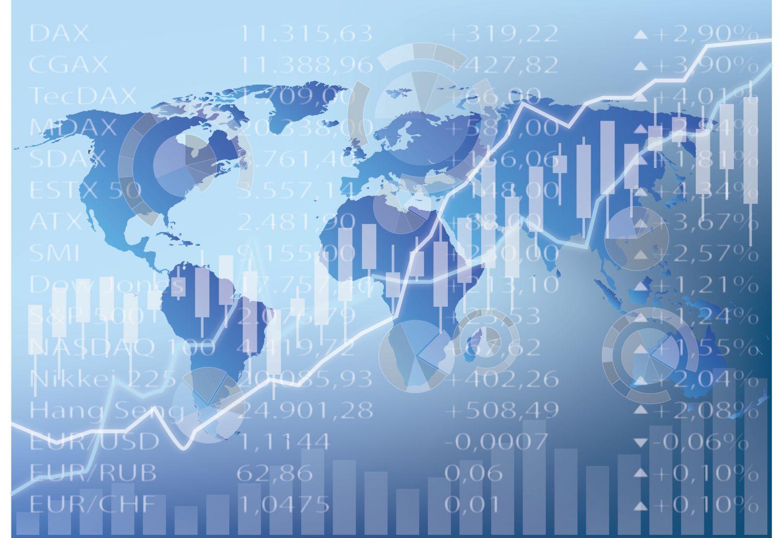 Aktienkurse vor Hintergrund einer Weltkarte