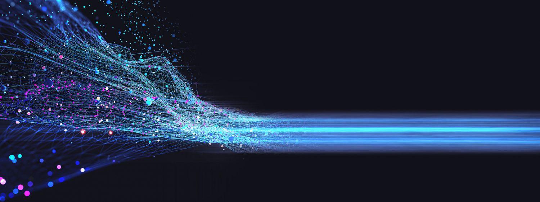 Ein Netz aus digitalen Punkten, das sich in eine Bahn verwandelt