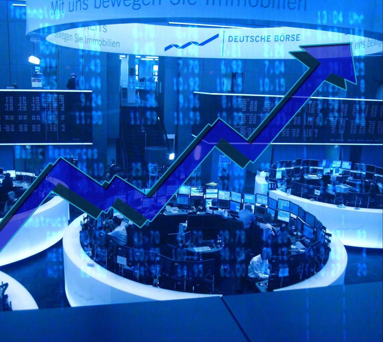 Grafik mit symbolischem Aktienkurs. Thema: Aktien und Aktienfonds